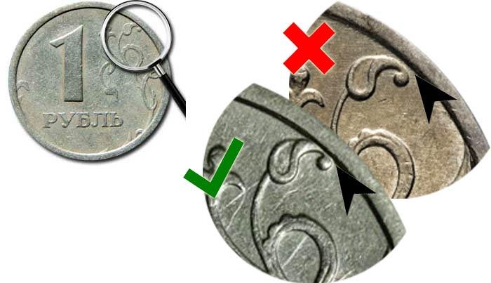 дорогая разновидность 1 рубль 1997 года с широким кантом