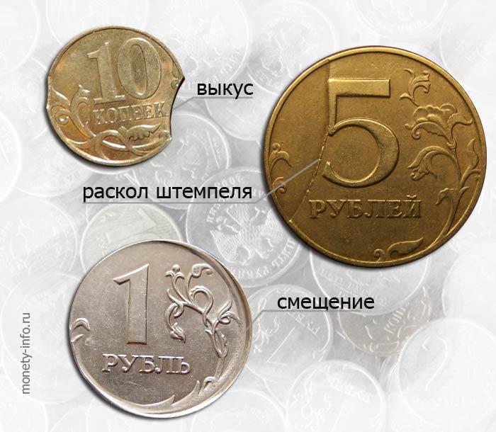 стоимость современных российских монет с браком